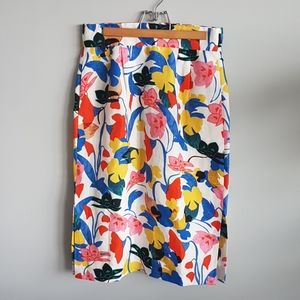 J.Crew Floral Linen Mid-Waisted Skirt Lined Size8